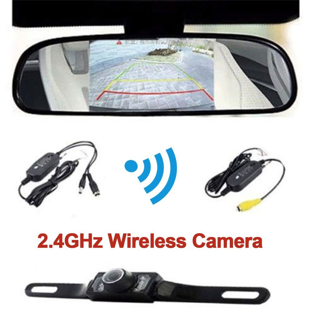 Top Quality 4.3 Inch LCD Car Monitor + IR Night Vision HD Rear View Car Camera Wireless Parking Assistance System for Car