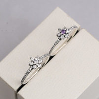 High Quality 925 Sterling Silver Ring For Women Forget Me Not Feature Ring Zirconia Anel For