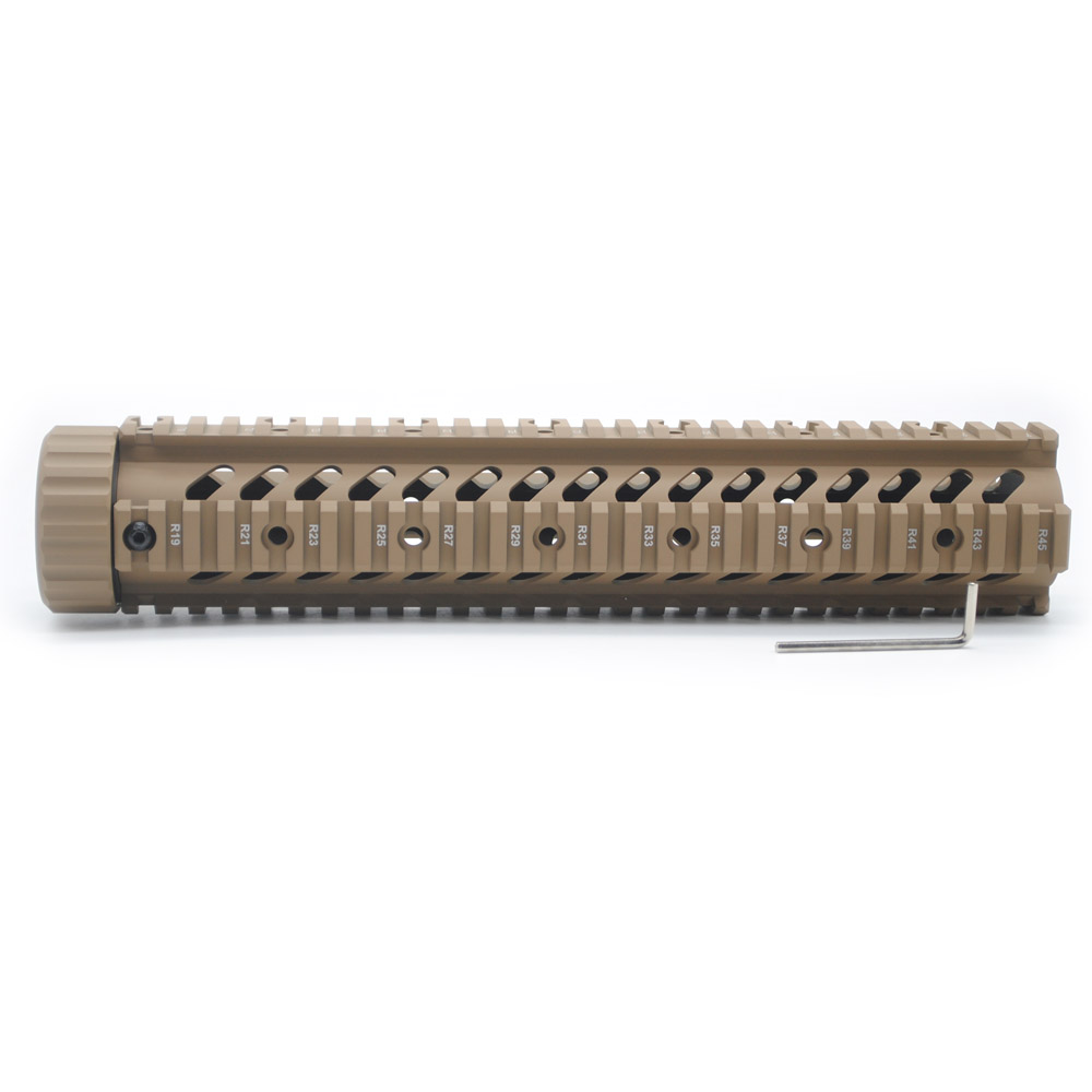 TriRock 12 inch Tactical Hunting .223/5.56 / M4/AR-15 Quad Rail Handguard Free Float Mount System_Tan Color PrintedTriRock 12 inch Tactical Hunting .223/5.56 / M4/AR-15 Quad Rail Handguard Free Float Mount System_Tan Color Printed