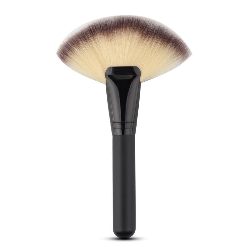 Mayitr 1pc Big Fan Shaped Brush Soft Hairs Blush Face Powder Brushes For Cosmetic Makeup Tool