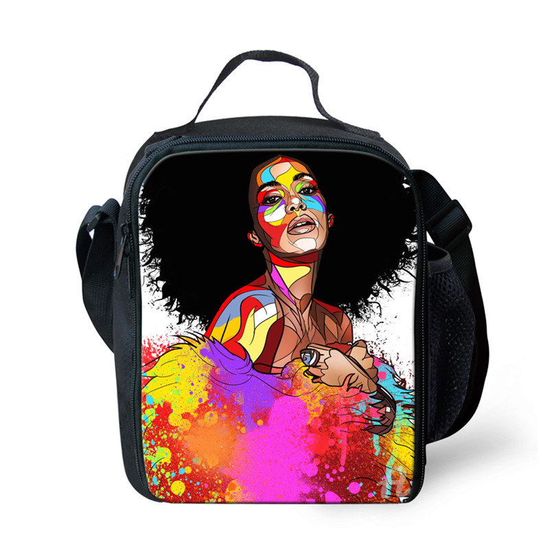 Der GüNstigste Preis Thikin Warm Halten Mittagessen Taschen Für Frauen Schwarz Kunst Afrikanische Mädchen Druck Kinder Thermische Mittagessen Box Lebensmittel Lagerung Isolierte Mittagessen Tasche