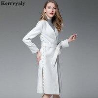Luxury White Bead Cashmere Long Coat Abrigos Mujer Invierno 2018 Autumn Long Sleeves Woolen Women Coat Casaco Feminino D1047