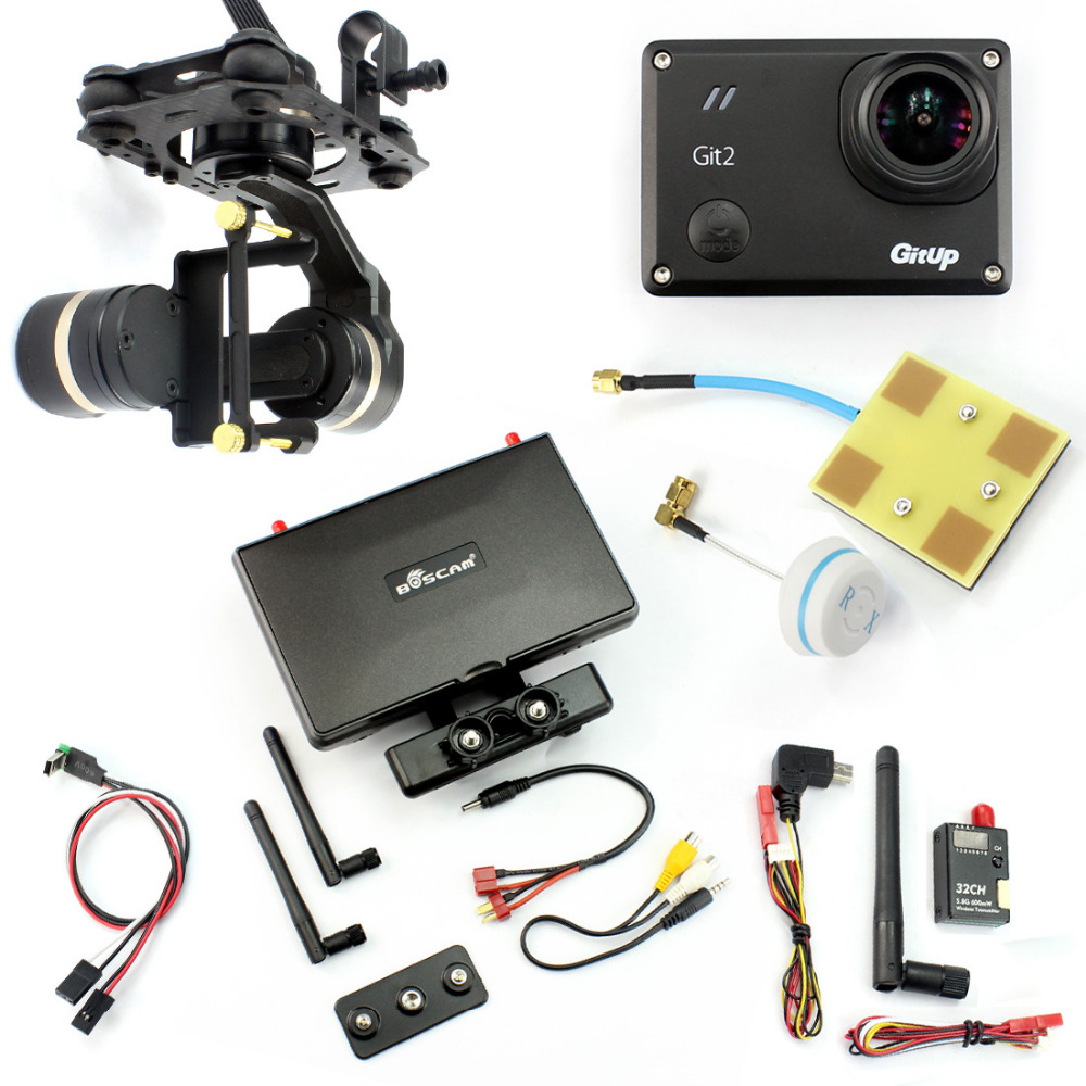 DIY FPV Set with Gitup git2 Camera Tarot TL3T01 Gimbal Real-time FPV Cable BOSCAM BOS600 Transmitter FPV Monitor Panel Antenna real cable ott60 1m20