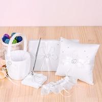 5pcs Wedding Supplies Double Heart Flower Girl Basket 7 * 7 inches Ring Bearer Pillow Guest Book Pen Holder Bride Garter Set