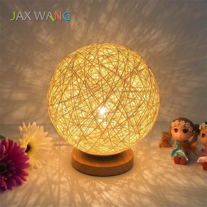 Achat 2018 Nouveau Led E27 Balle De Rotin Lampes Table Pour Le
