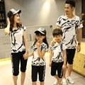 Summer 2016 Parent child outfits Graffiti family sets sports mother daughter children family look T shirts + Shorts Outfits