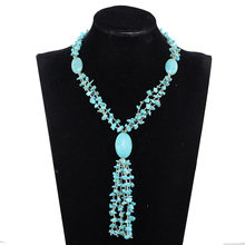 Fabulous Blue Strands Beads Fashion Necklace Long Pandent Luxury Bridal Necklace Jewelry Handmade Style Free Shipping PJW143(China)