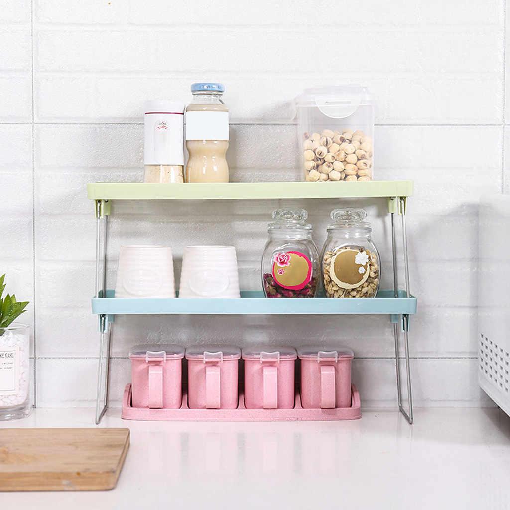 Einstellbare Küche Lagerung Rack Metall Schrank Lagerung Regal Non-Skid Spice Rack Einzigen Schicht Geschirr Organizer Platzsparend