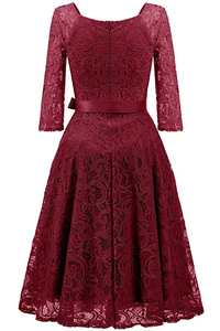 Image 2 - Elegant Burgundy Cocktail Dress MisShow V Neck Knee Length Floral Lace Gown Ribbons Bow 2019 Women New Style Cocktail Dresses