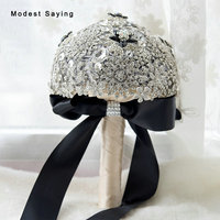 Luxury Silver Black Artificial Flowers Rosette Wedding Bouquets 2017 with Rhinestone Bridal Bridesmaid Bouquets buque de noiva
