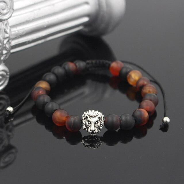 Мужской Плетеный дизайнерский браслет с головой льва Очаровательная