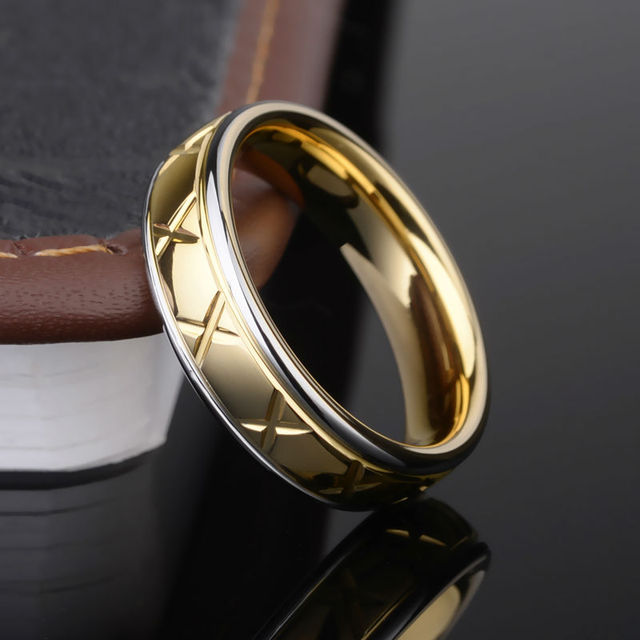 New Arrival Unique Design Gold Plating Men's Tungsten Carbide Rings Fashion Band 6mm Width Step Design Size 7-11