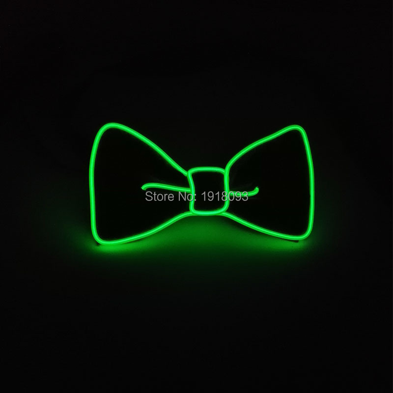Hot Sale Fashion Halloween Party Holiday Lighting Decoration EL Wire Bow Tie Color Green with DC-3V Steady on Inverter