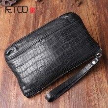 AETOO Original vintage leather clutch bag Men  first layer leather handbag Multifunctional Clutch soft leather men все цены