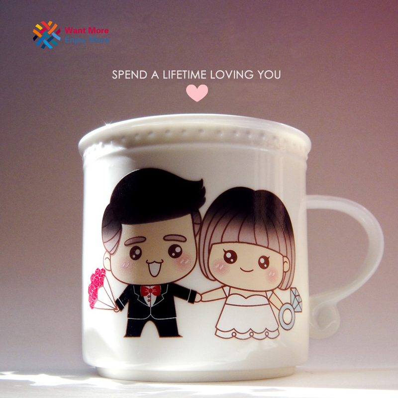Magic Loving You Color Changing White Ceramic Mug Heat Sensitive Sublimation Milk Coffee Drinks Cup Couple Gifts
