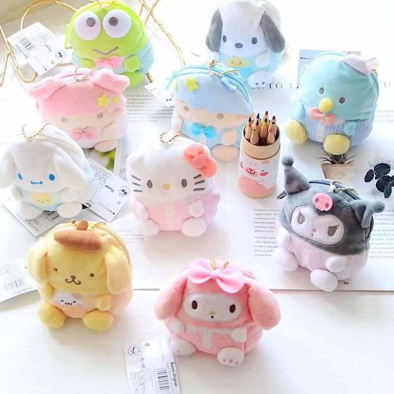 Pom Pom Purin Cinnamoroll Sanrio Olá Kitty My Melody Dos Desenhos Animados Plush Coin Purse Sacos Carteira Bonito Chave Cadeia Saco para meninas Presentes