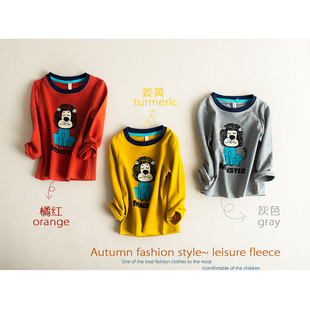2016 autumn baby boy clothes top quality girls t shirt long sleeve cartoon lion hoodies orange gray yellow kids sweatshirt tees