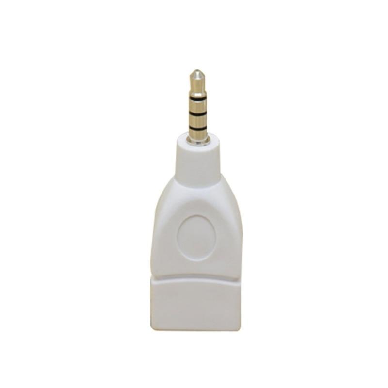 Converter Adapter USB 2.0 Female To 3.5mm Male AUX Audio Durable Auto Plug Jack Convenient Conversion White/ Pink