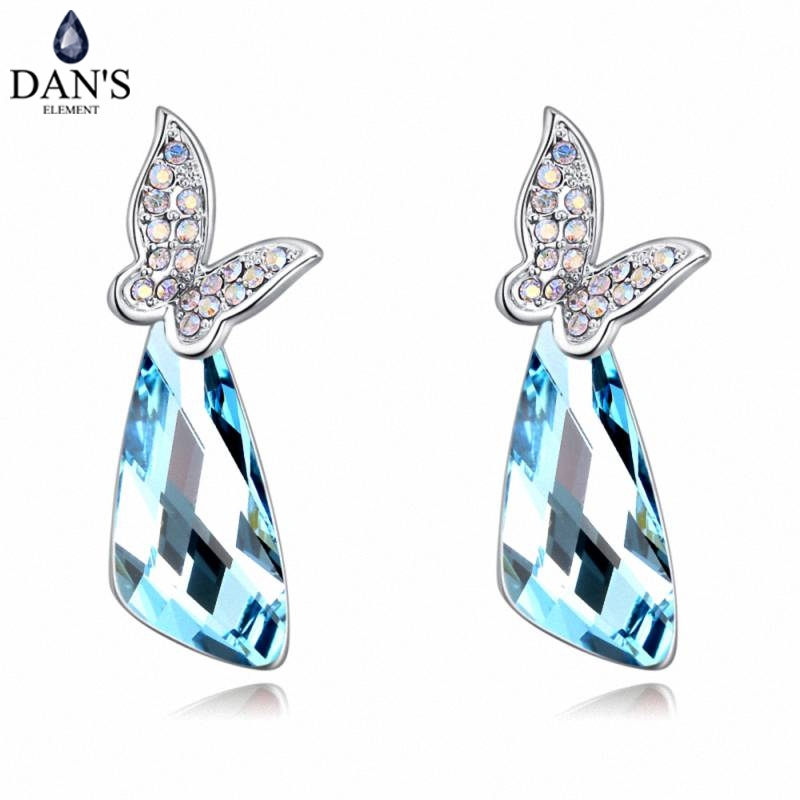 DANS 6 Colors Real Austrian crystals Stud earrings for women Earrings s New Sale Hot Round 129613