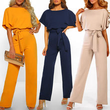 Women Short Sleeve Playsuit Clubwear Straight Leg Jumpsuit With Belt Bodycon Female Full Length Trouser elastic fitness Bodysuit(China)