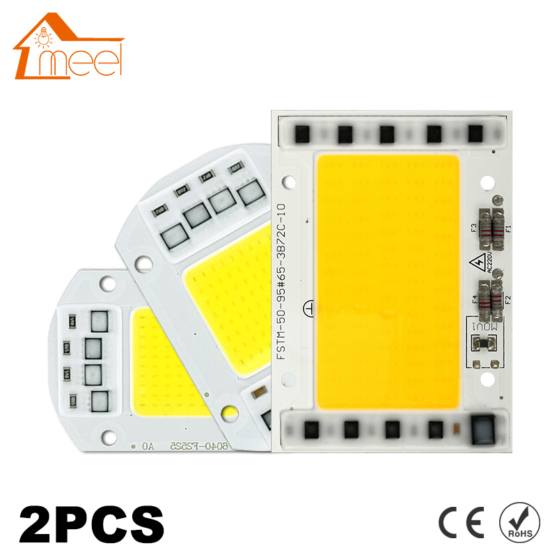 2Pcs LED Lamp Chip COB 100W 50W 30W 20W 15W 10W 220V 240V LED COB Chip Cold/Warm White Smart IC For DIY LED Spotlight Floodlight