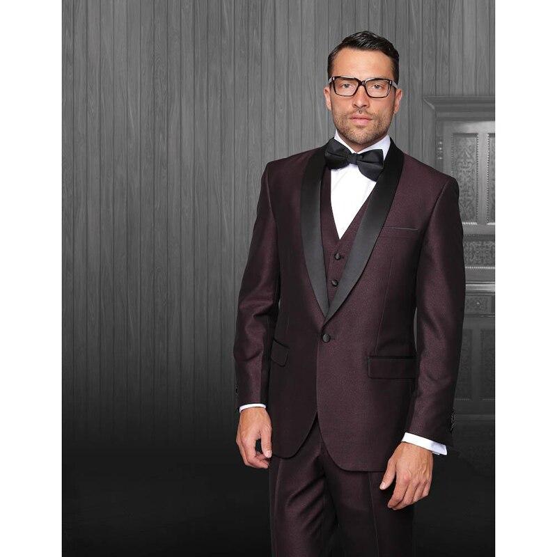 Personnalisé fait un bouton gap bordeaux marié hommes costume noir veste de revers + pantalon + cravate + gilet hommes robe de mariage meilleur homme hommes costumes