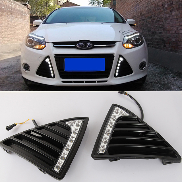 Car Flashing 1pair Drl For Ford Focus 3 2017 Daytime Running Lights Fog Head Lamp Cover Daylight With Yellow Signal