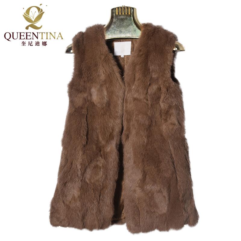 New Sexy Rabbit Fur Vest V neck Real Natural Fur Coats for Women Fashion Brand Autumn