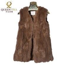 Новинка, сексуальный жилет из кроличьего меха, v-образный вырез, натуральный мех, пальто для женщин, модный бренд, Осень-зима, верхняя одежда, натуральный мех, жилеты, высокое качество