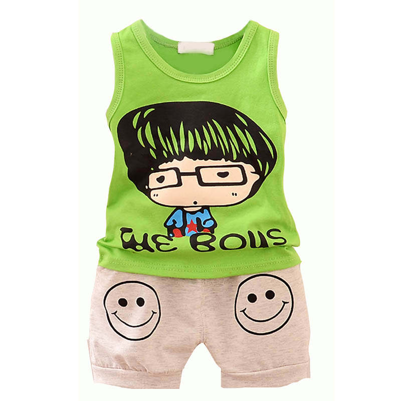 Childrens Sets Summer Sleeveless Baby Boy Clothing Set Cute Cartoon Print Top+Pant Cotton Kids Boys Clothes