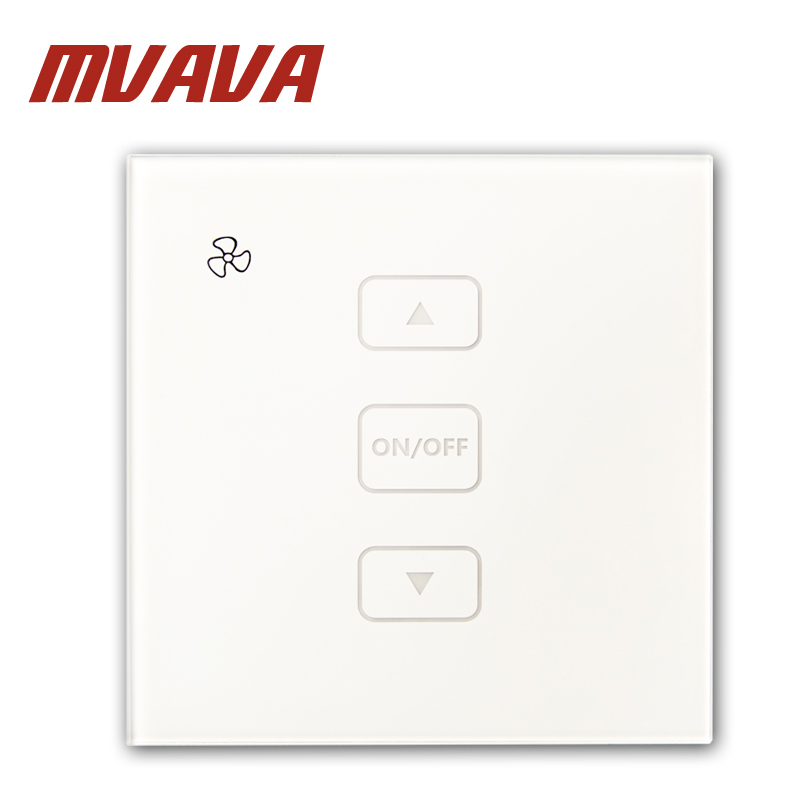 MVAVA Crystal Glass Panel Touch Fan Speed Switch 220V Speed Used For Ceiling Fans Electrical Wall Switch Fan Speed Controller