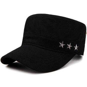 9b658d0216a53 Ejército estilo cadetes llanura sombrero gorra de béisbol superior plana  ocasional sombreros gorras visera sombreros para hombres mujeres ajustable  hueso ...