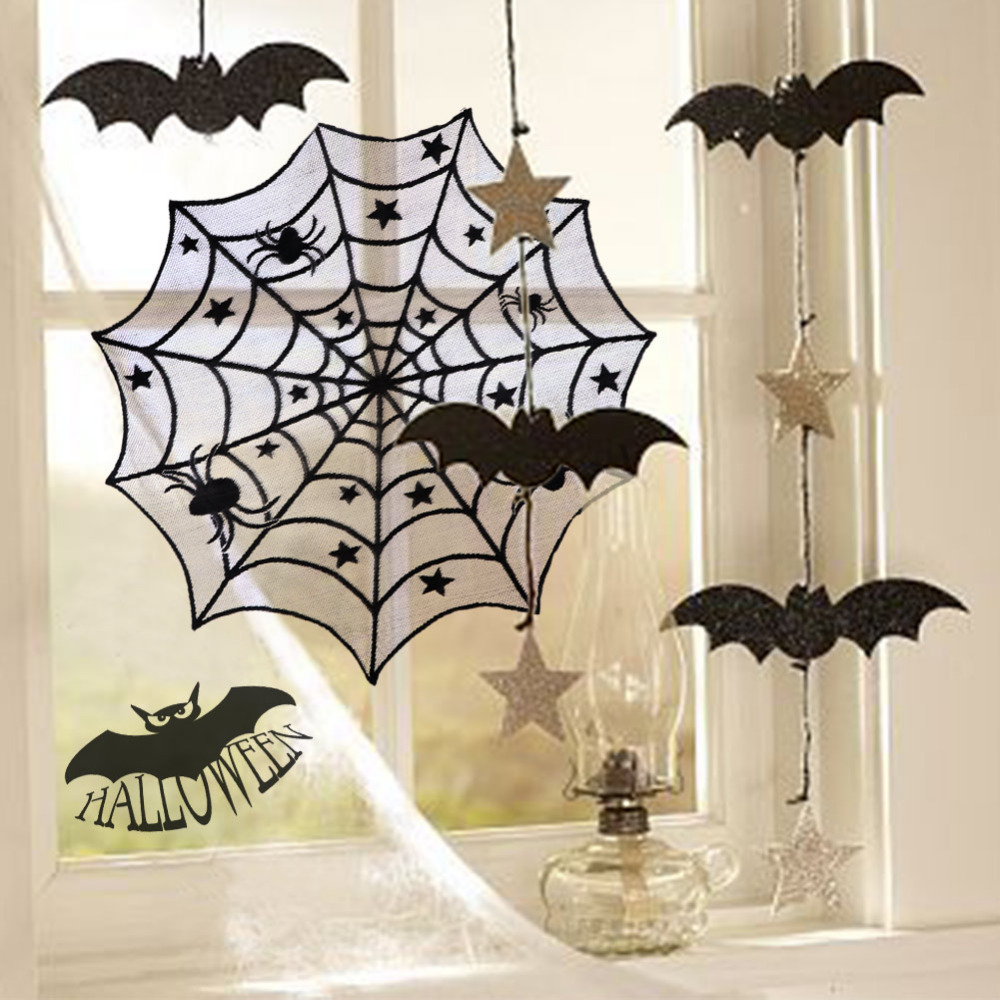 Gothic Witch Spider Web Cobweb Print Creepy Cloth Freaky Fabric Door Table Window D