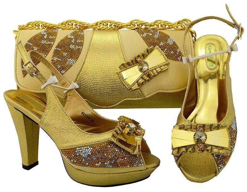 Новая обувь золотистого цвета и сумочка в африканском стиле Наборы для ухода за кожей 2018 итальянская обувь и Сумки чтобы соответствовать Об...