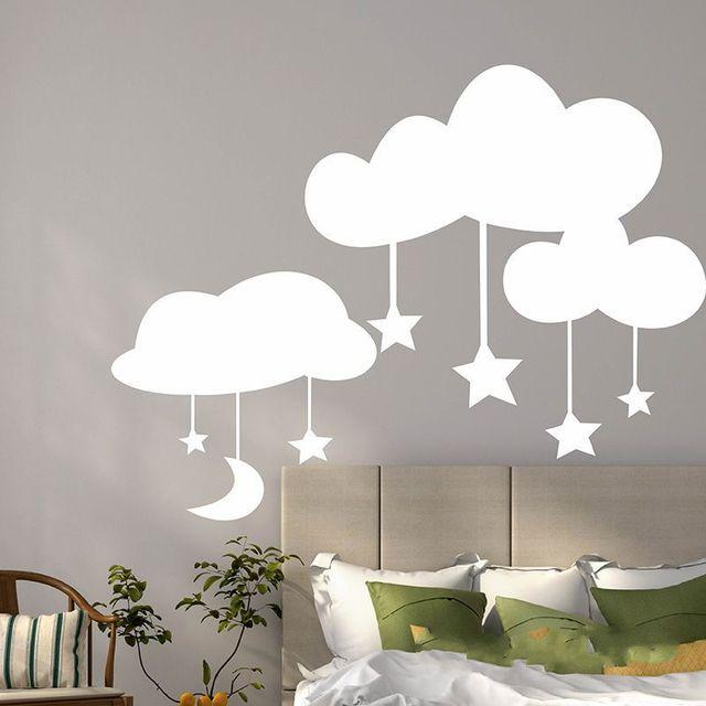 kids baby nursery wall sticker decor cartoon clouds stars decoration