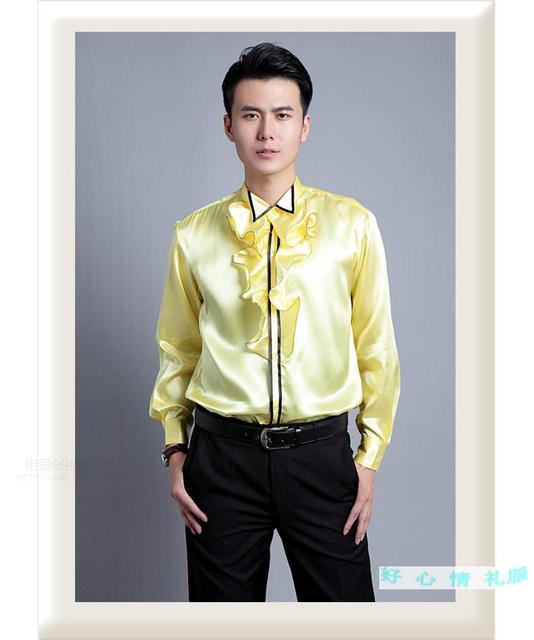 New Men s Fashion Slim White Gold Chorus Shirt Casual Flounce Shirt Dancer  Clothing Stage Dress ! 39-44 free shipping a4e5b7f550b4