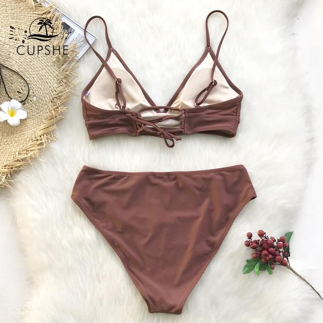 CUPSHE Brown Lace-Up Bikini Sets Women Triangle Mid Waist Two Pieces Swimsuits 2020 Girl Plain Beach Bathing Suit Swimwear 2