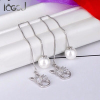 IOGOU Pure 925 Sterling Silver Drop Earring Simulated Pearl Rabbit Head Yung Lady Earrings Party Show Gift Dangle Silver Earring