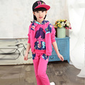 Kids girls 3pcs sets 2016 new spring & autumn fashion track suit baby clothing for girls 6/7/8/9/10/11/12/13/14/15 years
