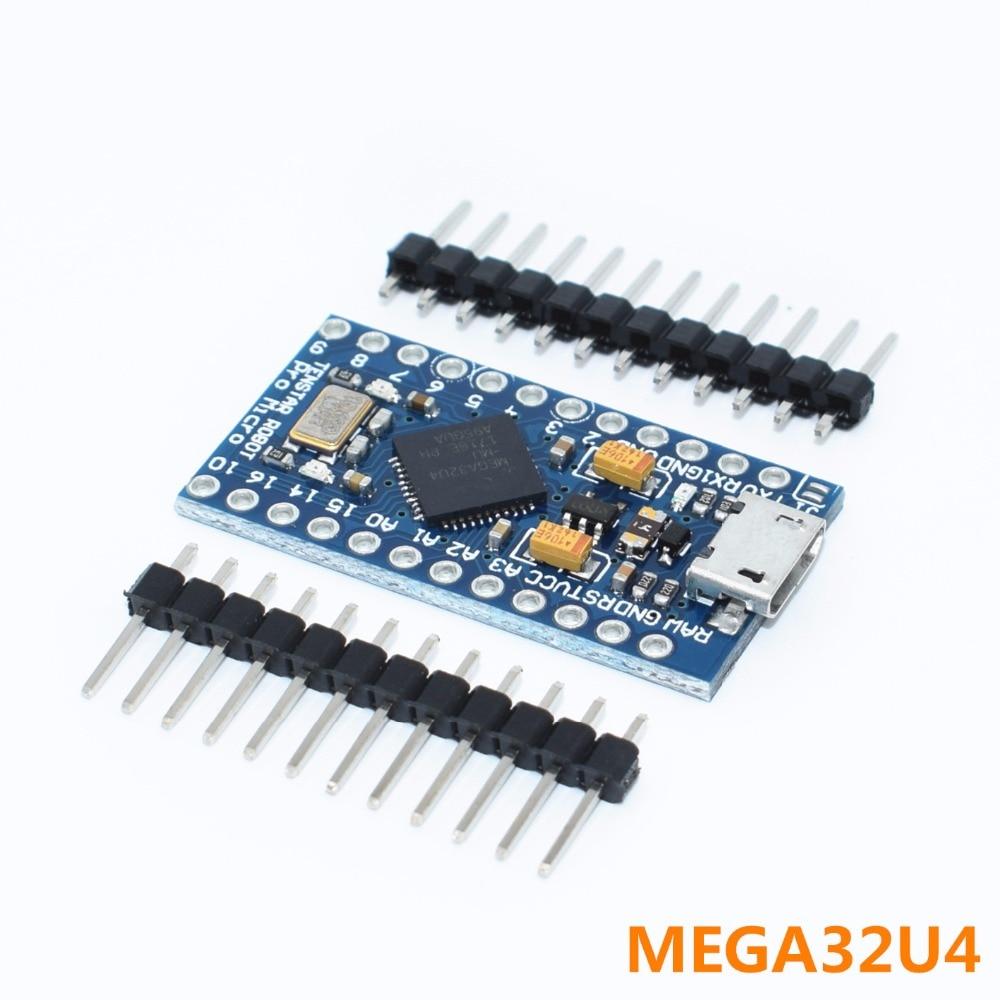 50pcs TENSTAR ROBOT Pro Micro ATmega32U4 5V 16MHz Module with 2 row pin header for arduino