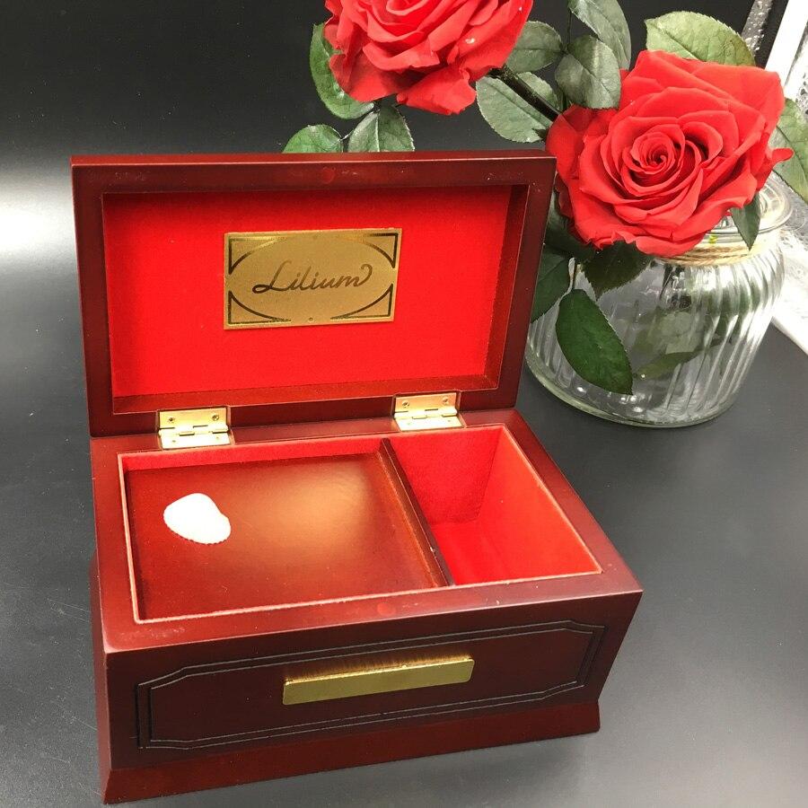 18 tons Edição Caixa de Música Lilium Elfen Lied Original De Madeira de Madeira Maciça De Faia, lilium Caixas De Música para o Amor Presente de Natal Da Menina