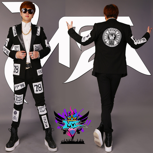 Original Design Brand Patch Suits Male Singer outfit Nightclub Black Woolen Dancewear Costumes Suit Jacket Trousers Blazer Set