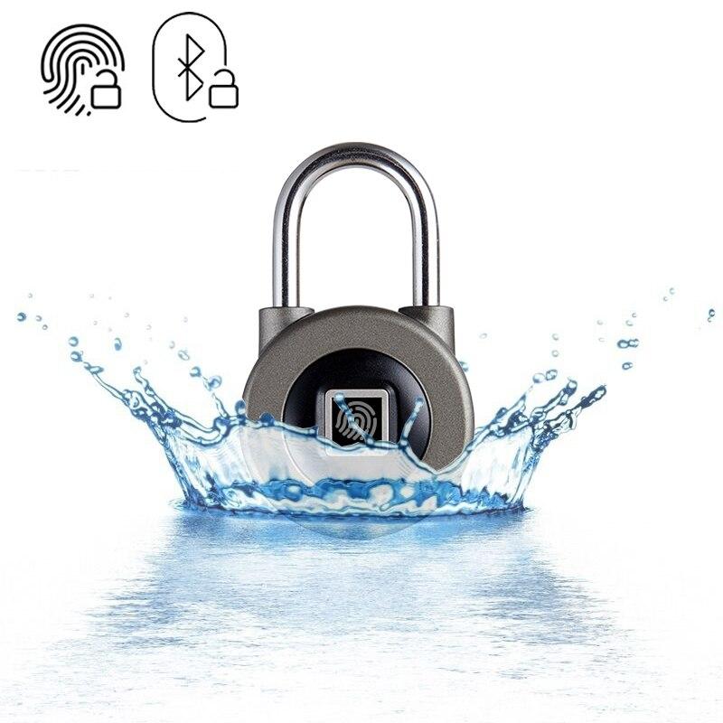 Candado inteligente con Bluetooth, huella dactilar y aplicación de teléfono, cerradura de puerta de seguridad IP66 resistente al agua para equipaje/gabinete/cajón/bicicleta M3 Cerradura electrónica RAYKUBE Wifi con Tuya APP remotamente/huella digital biométrica/tarjeta inteligente/contraseña/desbloqueo de llave FG5 Plus