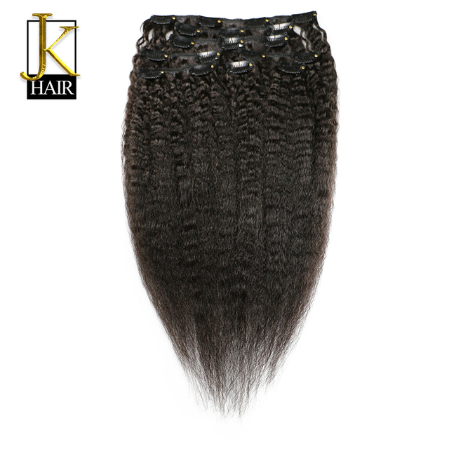 JK Hair Brazilian Remy Kinky Straight Hair Clip In Human Hair Extensions Natural Color 8 Pieces/Set Full Head Sets 120G