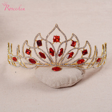 Retro Red /green color rhinestone tiara para noiva barque style big size bridal large queen crown wedding hair accessoriesRE483