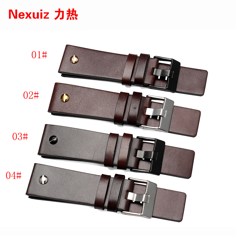 New high quality 22mm 24mm 26mm 28mm 30mm Mens Watch Band Brown Genuine Leather Strap Stainless Steel Buckle high quality 20mm 22mm 24mm leather watch strap man watch straps black brown gray stainless steel buckle thick line watch band