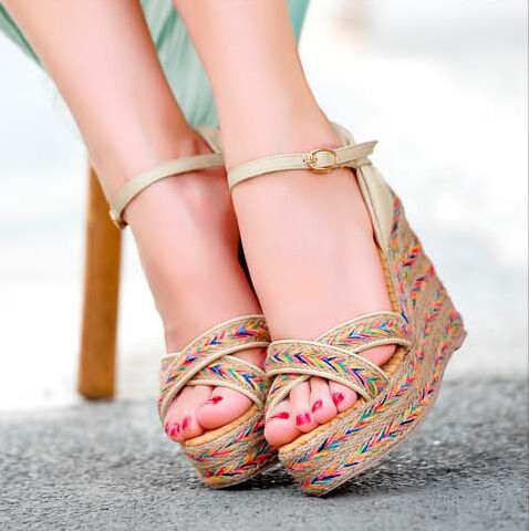 Aliexpress.com : Buy gladiator sandals women straw braid platform