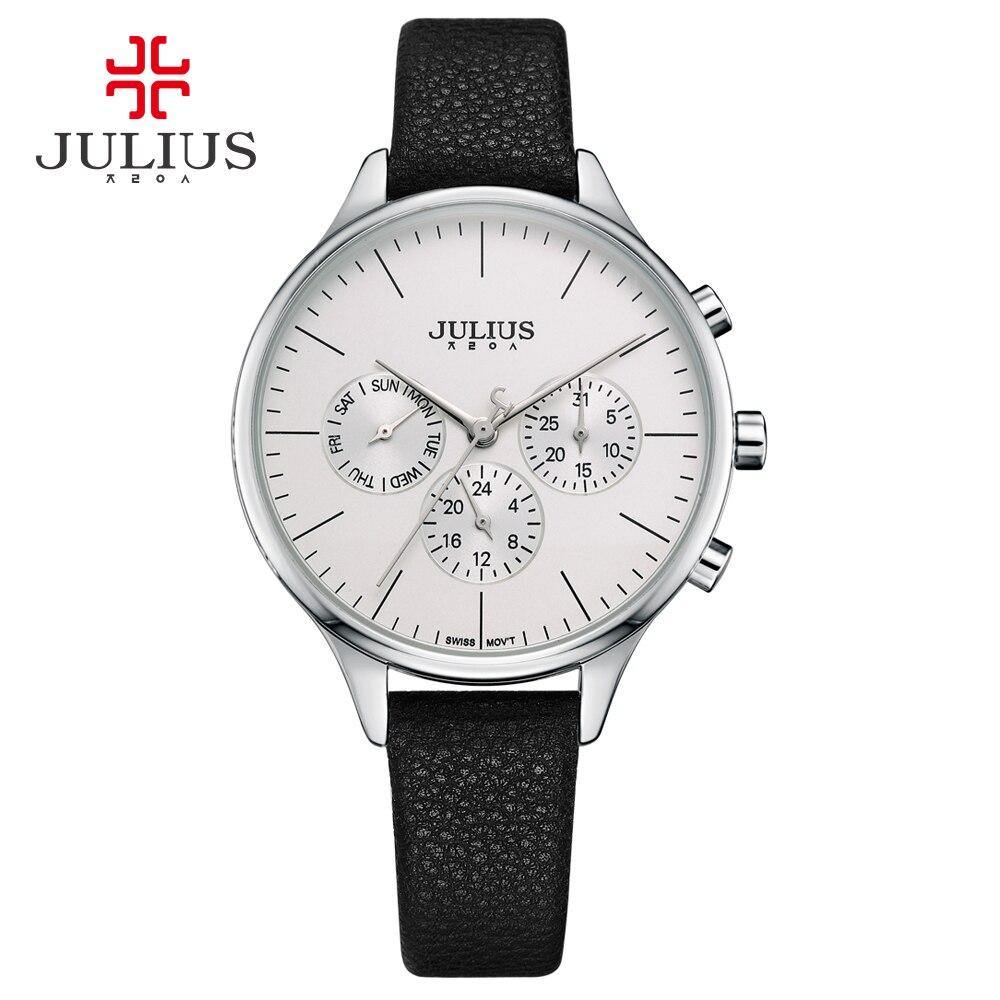 JULIUS Women Luxury Watch Chronograph Week Date Stopwatch Silver Rose Gold Genuine Leather Business Watch OL
