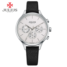 JULIUS Women Luxury Watch Chronograph Week Date Stopwatch Silver Rose Gold Genuine Leather Business Watch OL