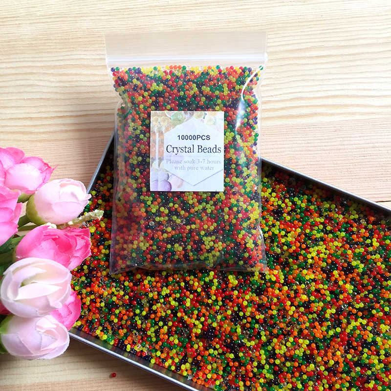 10000pcs/bag Crystal Soil Hydrogel Gel Polymer Water Beads Flower/Wedding/Decoration polymer Growing Water Balls Big Home Decor